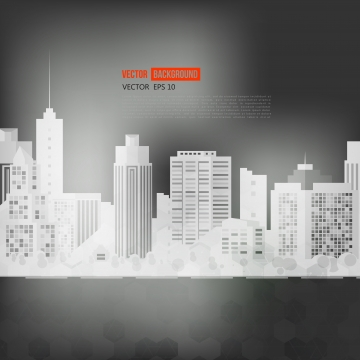 अंधेरे वॉलपेपर पर आधुनिक शहर सफेद सिल्हूट , वेक्टर, सार, षट्भुज पृष्ठभूमि छवि