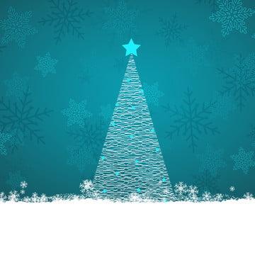 눈송이 배경에 낙서 크리스마스 트리 , 겨울, 삽화, 벡터 배경 이미지