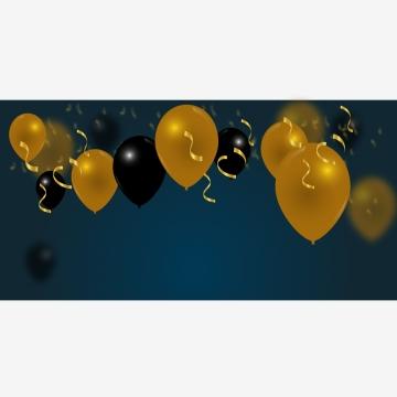 금색과 검은 색 풍선 축 하 배너 , 장식, 축하, 배경 배경 이미지