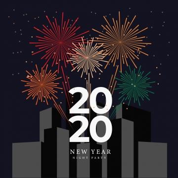 fiesta de fuegos artificiales noche de año nuevo con edificios y paisaje urbano , Parte De Fondo, Parte, Año Nuevo Imagen de fondo
