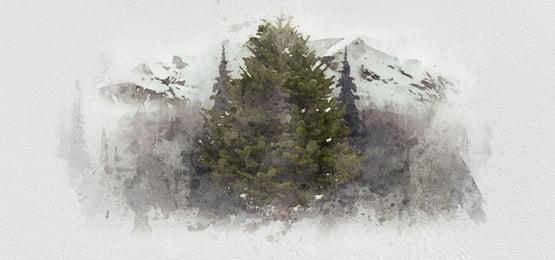 अमूर्त देवदार के पेड़ के पानी के रंग की पृष्ठभूमि, सार, पाइन, पेड़ पृष्ठभूमि छवि
