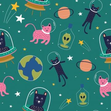 बिल्लियों और ग्रह के साथ प्यारा जानवर विदेशी सहज पैटर्न , कार्टून, चित्रण, सुंदर पृष्ठभूमि छवि