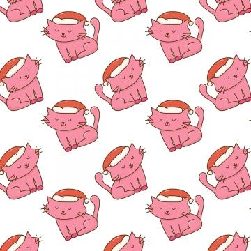 귀여운 크리스마스 고양이 패턴 , 삽화, 아기, 크리스마스 배경 이미지