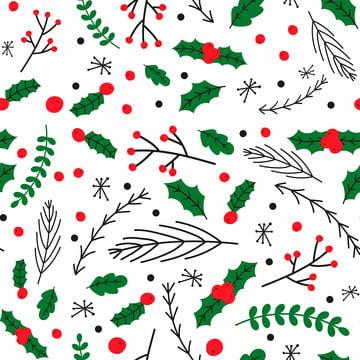 प्यारा क्रिसमस पैटर्न छोड़ देता है , फूल, पत्ता, कार्टून पृष्ठभूमि छवि