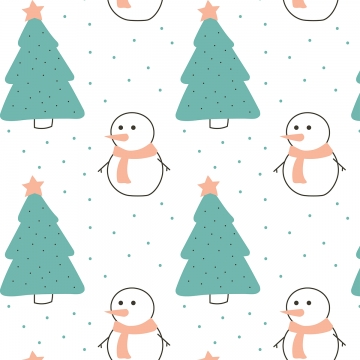 Pattern With Trees And Snowman Pattern Tree Snow Background Image For Free Download