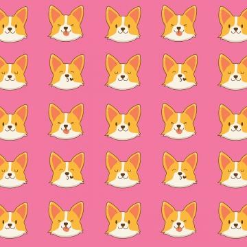 प्यारा corgi कुत्ते चेहरा पैटर्न , बच्चे, कार्टून, वॉलपेपर पृष्ठभूमि छवि