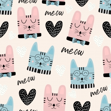 म्याऊ पाठ के साथ अजीब बिल्लियों सिर सहज पैटर्न , पैटर्न, सार, बच्चे पृष्ठभूमि छवि