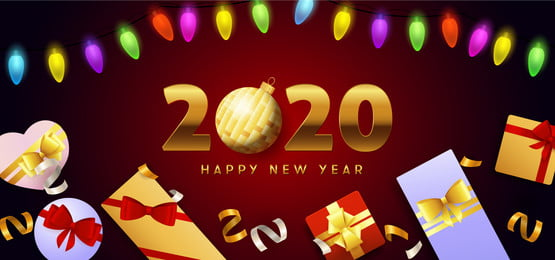 happy new year 2020 lettering lights and gift boxes, Gift Box Background, Happy New Year, New Year 2020 Background image