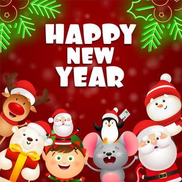 नया साल मुबारक हो योगिनी ध्रुवीय भालू माउस और सांता क्लॉस , सांता क्लॉस, माउस, क्रिसमस को सहन करें पृष्ठभूमि छवि