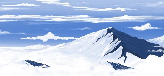 雪山和天空中的雲彩的風景, 向量, 插圖, 天空 背景圖片