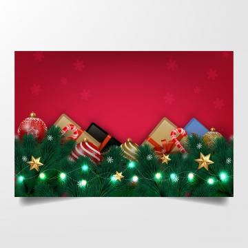 लाल क्रिसमस पृष्ठभूमि उपहार प्राथमिकी शाखाओं और क्रिसमस गेंदों के साथ वेक्टर चित्रण डिजाइन , पृष्ठभूमि, क्रिसमस, सर्दियों पृष्ठभूमि छवि