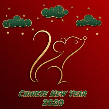 happy chinese new year 2020 year of the rat red and gold paper cut character , Element, Christmas, Cloud Background image