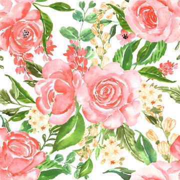 निर्बाध पैटर्न सुंदर गुलाब गुलाबी पानी के रंग का फूल , निर्बाध, पैटर्न, प्रकृति पृष्ठभूमि छवि