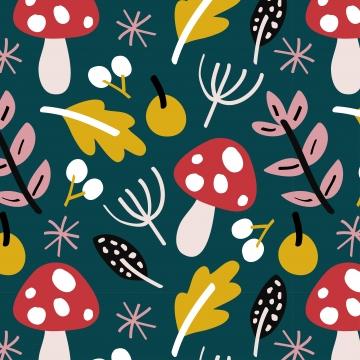 पत्तियों और मशरूम के साथ शरद ऋतु की पृष्ठभूमि , शरद ऋतु, गिरावट, Handdrawn पृष्ठभूमि छवि