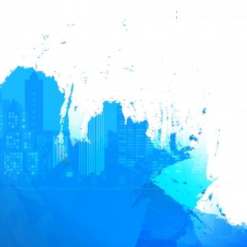 सफेद नीली पृष्ठभूमि पेंट दाग शहर सिल्हूट , स्याही, Splattered, छींटे पृष्ठभूमि छवि