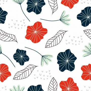 फूल और पत्ती वेक्टर चित्रण का सहज पैटर्न सुंदर हाथ से स्कैंडिनेवियाई वनस्पति चित्र खींचा , पुष्प, सरल, पैटर्न पृष्ठभूमि छवि