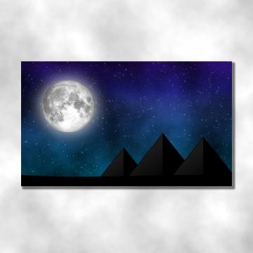 आकाश और सितारों के क्षेत्र में बड़ी पूर्णिमा के साथ रात में महान पिरामिड का दृश्य , पिरामिड, आकाश, चंद्रमा पृष्ठभूमि छवि