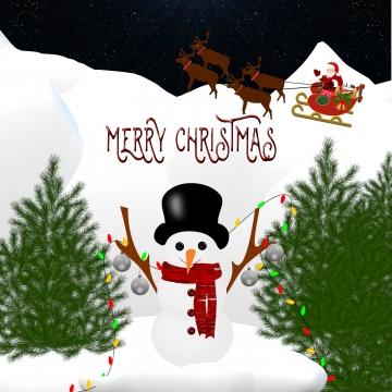 क्रिसमस दृश्य संता और स्नोमैन , क्रिसमस, क्रिसमस पेड़, सांता पृष्ठभूमि छवि