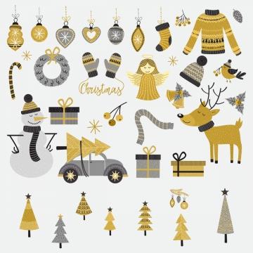 크리스마스 장식 요소 황금 , 황금, 겨울, 휴가 배경 이미지