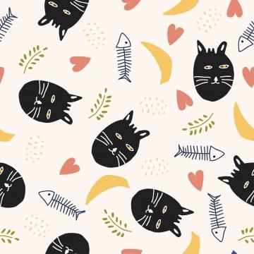 아기와 어린이 보육 패션 섬유 인쇄에 좋은 물고기와 새끼 고양이 머리 장식 벡터와 함께 재미있는 고양이 원활한 패턴 , 고양이, 낙서, 귀엽다. 배경 이미지