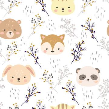 आराध्य पशु सिर और निर्बाध पैटर्न में पुष्प , पृष्ठभूमि, निमंत्रण, बेबी शॉवर पृष्ठभूमि छवि