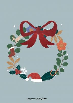 크리스마스 원형 리본 잎 꽃 눈송이 모자 양말 , Christmas, 둥글다, 채색 테이프 배경 이미지