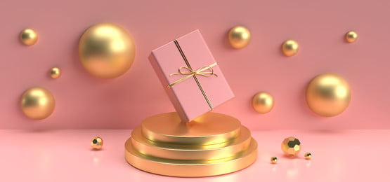imagen de render 3d de una caja de regalo de navidad decorar sobre un fondo rosa pastel podio, Colorido, Pastel, Decoracion Imagen de fondo