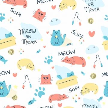 단어 발 스타 사랑 조합 원활한 벡터 패턴으로 다채로운 낙서 고양이 동물 , 귀엽다, 동물, 예술 배경 이미지