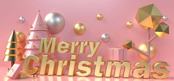 gold lettering merry christmas surrounded by christmas trees and gift boxes on a pastel pink background, Rose Gold, Bauble, Box Background image