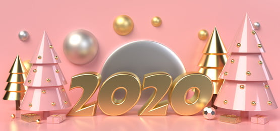 gold text 2020 surrounded by pink and gold christmas trees and gift boxes on a pink background, Toy, Party, Colorful Background image