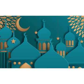 mezquita de plantilla de hermoso diseño islámico con luna amarilla y estrellas sobre fondo turquesa en papel cortado estilo ramadan kareem tarjeta de felicitación banner portada o póster ilustración vectorial , Ramadan, Islamic, Kareem Imagen de fondo