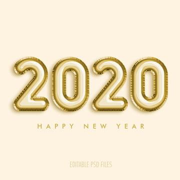 с новым годом 2020 золотой шар стиль редактируемый текст эффект фон , реалистичные, искры, сверкающие Фоновый рисунок