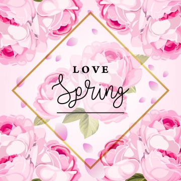 핑크 꽃 패턴 요소 벡터 일러스트와 함께 봄 배경 , 봄, 배경, 벡터 배경 이미지