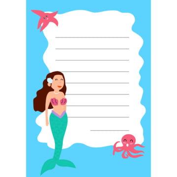 ब्लू मरमेड पेपर नोट डिजाइन वेक्टर , ग्राफिक, मानव, किशोर पृष्ठभूमि छवि
