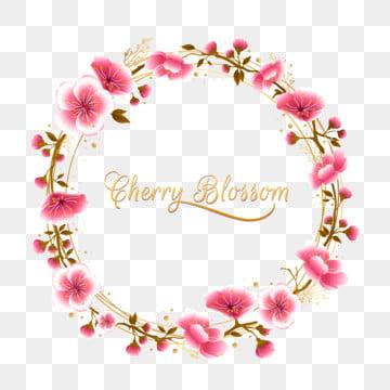 핑크 금 벚꽃 라운드 프레임 난초 꽃 벽지 사쿠라 꽃 봄 축제 , 결혼식, 인사, 장미 배경 이미지