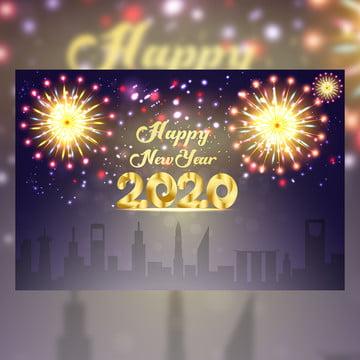 새해 복 많이 받으세요 2020 골드 아름다운 불꽃 놀이 , 년, 새로운, 2020년까지 배경 이미지