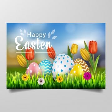 यथार्थवादी अंडे घास और फूल ग्राफिक डिजाइन वेक्टर के साथ खुश ईस्टर की सुंदर पृष्ठभूमि , ईस्टर, वसंत, अंडे पृष्ठभूमि छवि