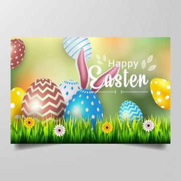 यथार्थवादी रंगीन अंडे फूल और घास पृष्ठभूमि वेक्टर के साथ खुश ईस्टर , ईस्टर, वसंत, अंडे पृष्ठभूमि छवि