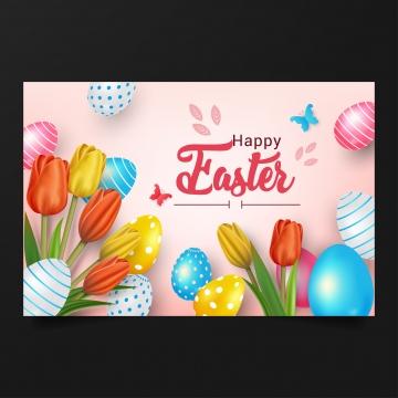 सुंदर फूल और यथार्थवादी अंडे की पृष्ठभूमि के साथ खुश ईस्टर की वेक्टर चित्रण , ईस्टर, वसंत, अंडे पृष्ठभूमि छवि