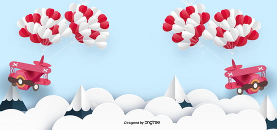 romantic valentines day airplane love balloon paper cut background
