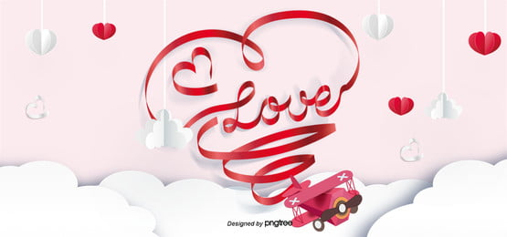 romantic valentines day airplane love red ribbon paper cut background