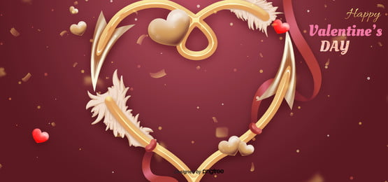 romantic valentines day love arrow red background