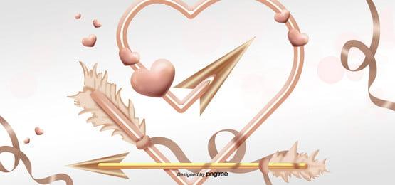 valentine love golden feather arrow background