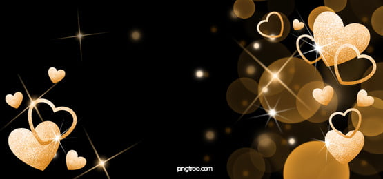 golden shiny love hearts on black background