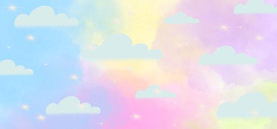 Cartoon Call Unicorn Vector Material Unicorn Stars Rainbow Background Image For Free Download