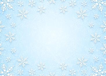 blue gradient winter christmas white snowflake border background