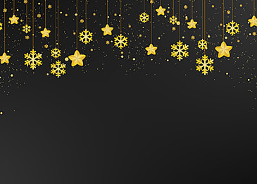 christmas hanging golden textured snowflakes five pointed star on black background