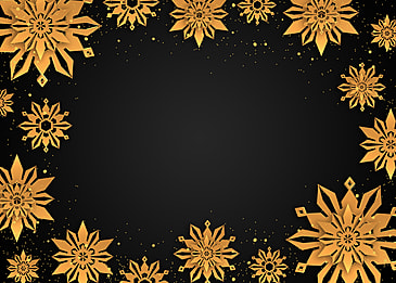 creative complicated golden texture snowflake christmas border background