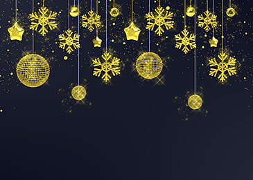 hanging decorations christmas golden texture snowflakes black background