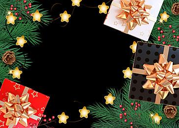 christmas stars lights around pine branches